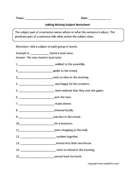 Subject Predicate Worksheet by Parts Of A Sentence Worksheets Subject And Predicate