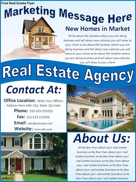 free real estate flyers word excel pdf