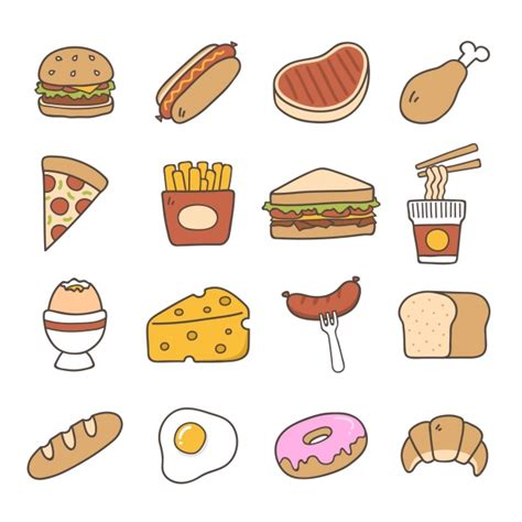 doodle food icons vector fast food vectors photos and psd files free