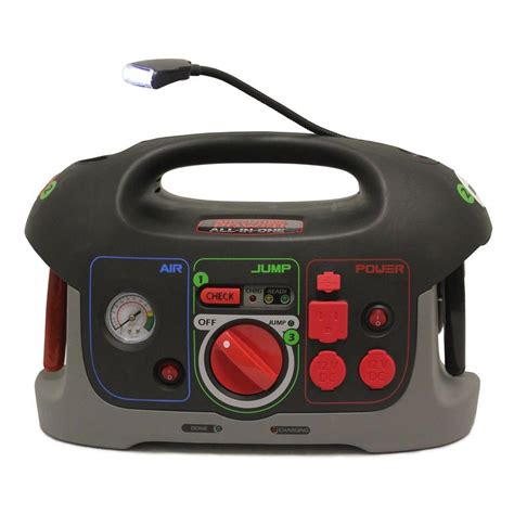 upg 12 volt all in one battery jump start system with built in air compressor and power inverter