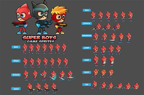super boys  game sprites  dionartworks