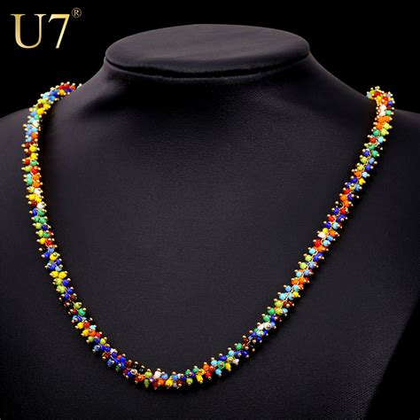 u7 coral bead necklace fashion jewelry