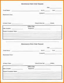 Maintenance Work Order Template by Doc 600640 Maintenance Work Order Form Sle