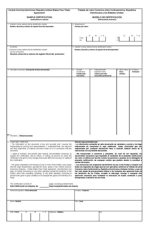 7 2 1 Cafta Dr Certificate Of Origin Export Gov Australia Certificate Of Origin Template
