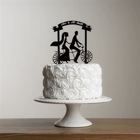 Wedding Banner Cake Topper by Funkylaser And Groom Wedding Banner And Tandem Bike