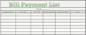 Free downloadable bill payment tracker