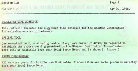1958 tech service bulletin on sherman combos