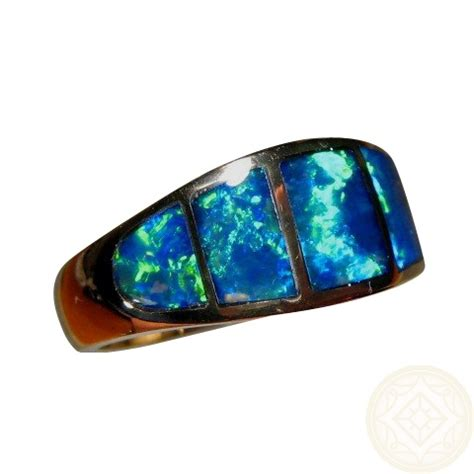 real blue opal inlay opal gold ring wide band blue green gems flashopal