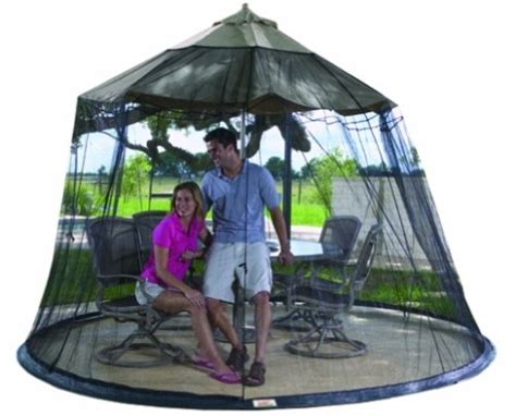 Patio Umbrella With Screen Enclosure 9 Foot Umbrella Table Screen Enclosure Keep Bugs Mosquitoes Out Garden Creations Ebay