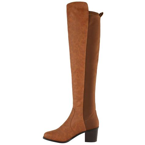 low heel thigh high boots womens the knee thigh high stretch pull on low
