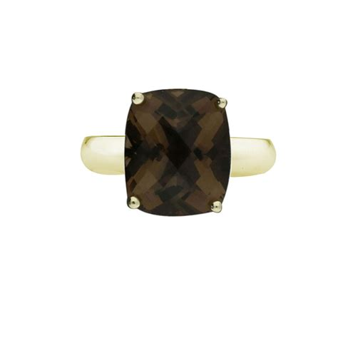 exclusive yellow gold cushion smoky quartz ring