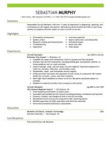 Mechanic Resume Exle by Best Aircraft Mechanic Resume Exle Livecareer