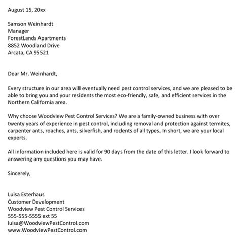 Pest Letter Template Pest Services Sle For Free
