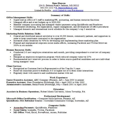 resume summary of skills exles skills for resume 10 resume skills to state in your