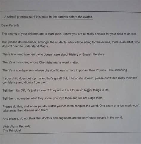 Parent Letter Before Testing Dear Parents Principal Pens Heartfelt Letter To Parents Before Exams