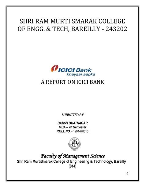 Mba Marketing Project On Icici Bank by A Report On Icici Bank
