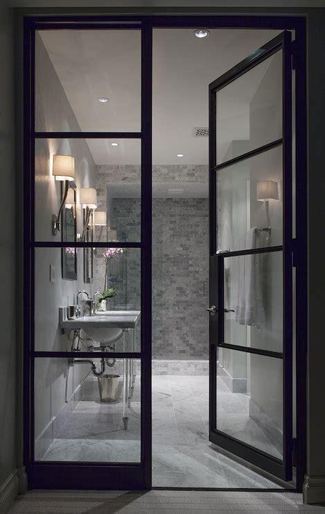 glass and steel doors contemporary bathroom