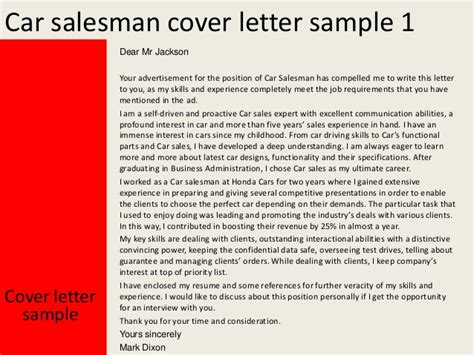 car salesman resume sles car salesman cover letter
