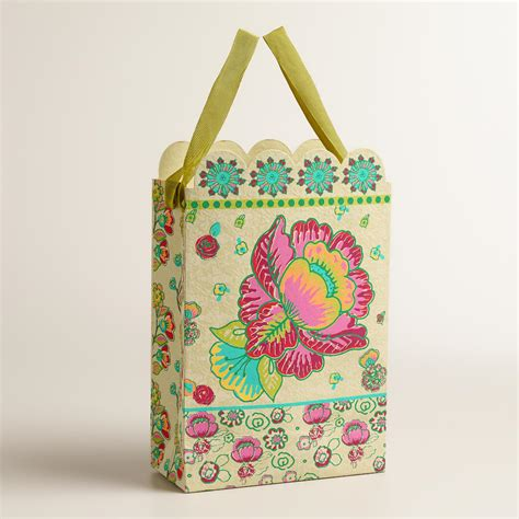 Handmade Gift Bags - large pink flower handmade gift bags set of 2 world market