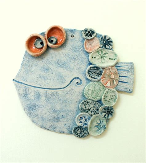 Handmade Clay - handmade ceramic wall decor the fish 4 pottery