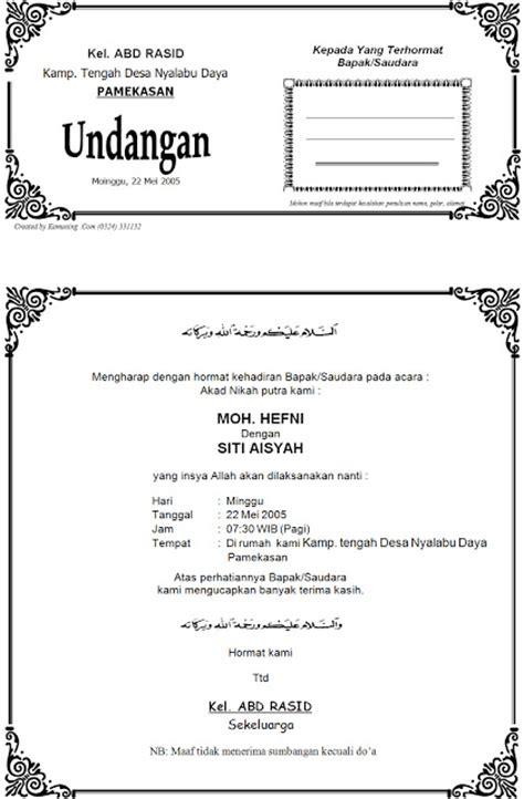 surat undangan akad nikah contoh isi undangan