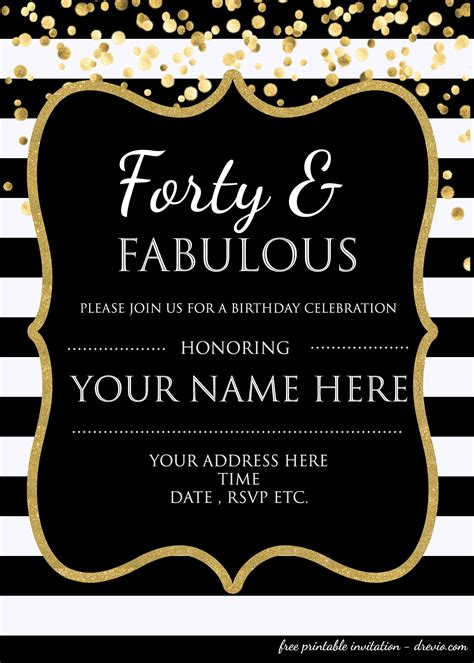 Forty Fabulous 40th Birthday Invitation Template Psd Editable Free Invitation Birthday Invitation Editable Templates