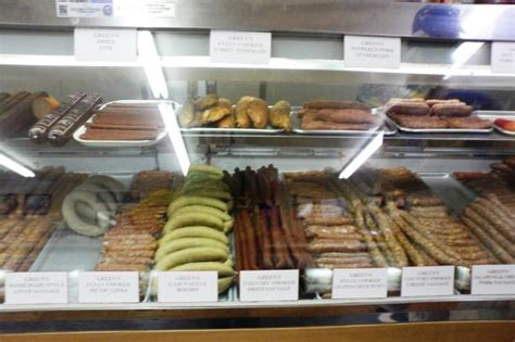 the sausage house the sausage case picture of green s sausage house temple tripadvisor
