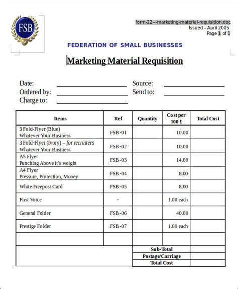22 Requisition Form Sles Sle Templates Marketing Material Templates