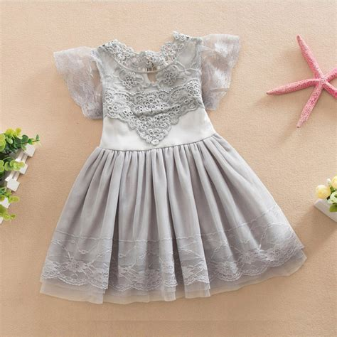 Dress Baby Pink Grey high quality baby lace vest dress toddler infant