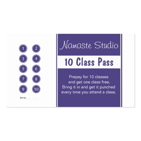 10 class pass card template business card 10 class pass template zazzle