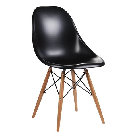 Dining Chairs Black Eames Inspired Moulded Black Dining Chair