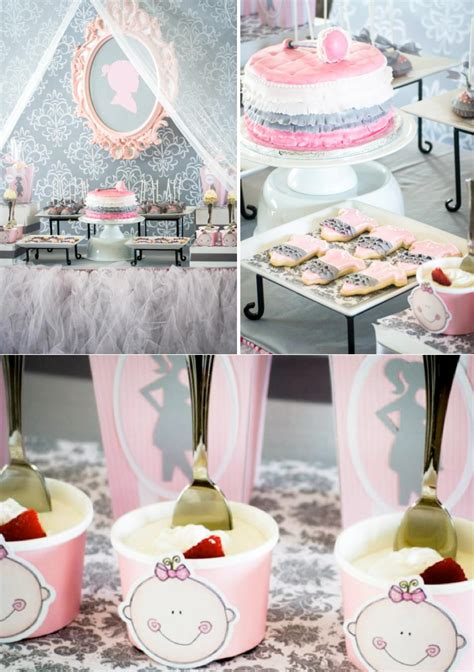 pink gray princess themed baby shower planning