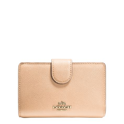 Coach Medium Wallet Ori coach medium lzip wallet in beige lyst