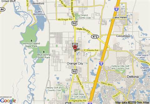 map of 1876 heritage inn orange city