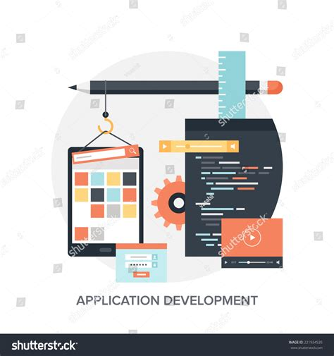 application design concepts abstract flat vector illustration application development