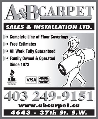 A & B Carpet Sales & Installation Ltd   4643 37 St SW