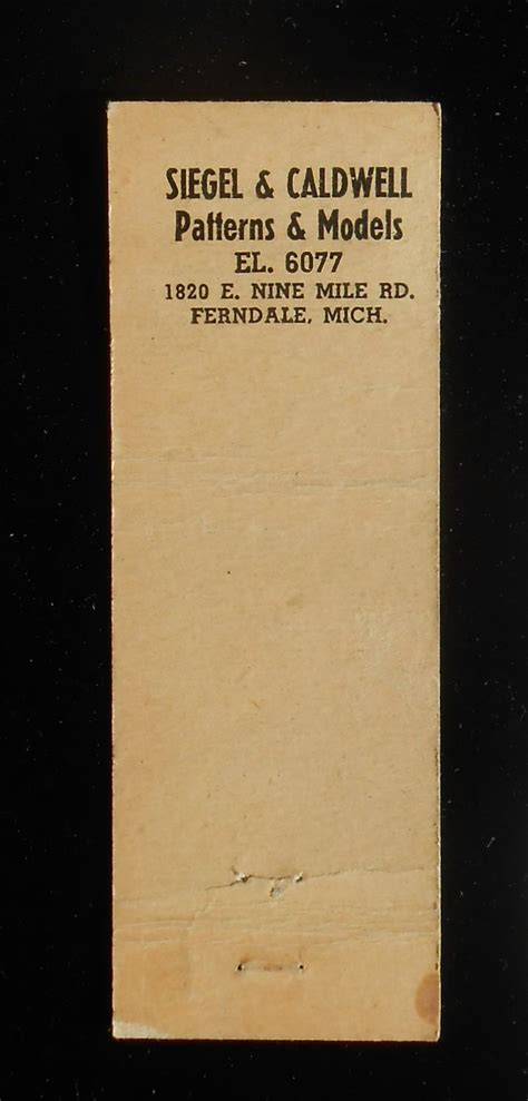 michigan pattern works 1950s matchbook siegel caldwell pattern works 1820 e