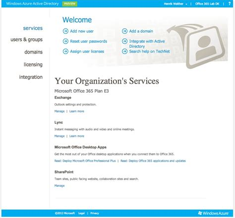 Office 365 Tenant by Accessing An Office 365 Tenant Using The New Windows Azure