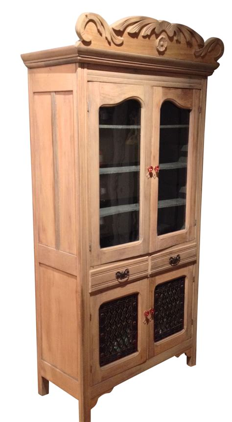 Clear Pine Kitchen Cabinets by Antique Pine Cabinet With Clear Glass Doors Chairish