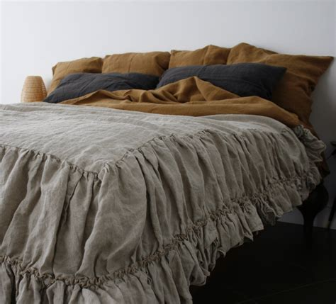 ruffled coverlet linen coverlet with two ruffles linen bedspread dust ruffle