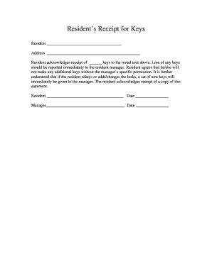 editable key receipt acknowledgement samples  submit  key receipt form onlinecom