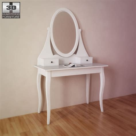 Makeup Vanity Blueprints Ikea Hemnes Dressing Table With Mirror 3d Model Humster3d