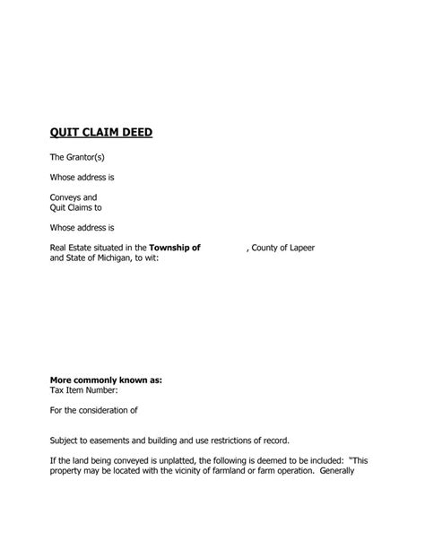 sle authorization letter for quit claim 46 free quit claim deed forms templates template lab