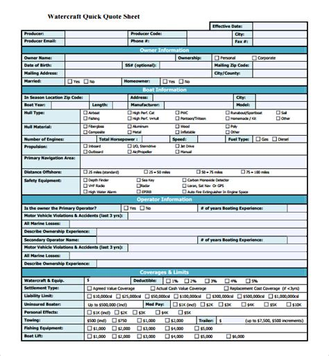 boat insurance quote sheet 10 useful sle quote sheet templates to download