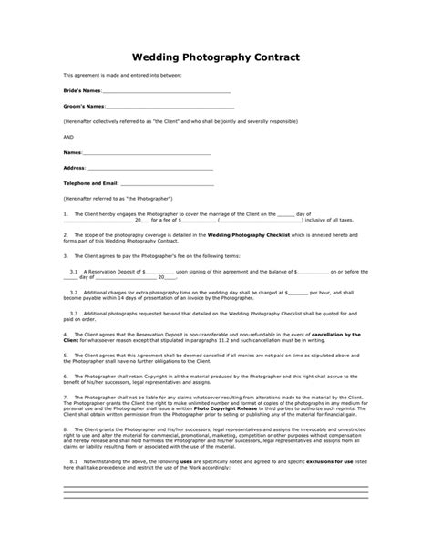 Wedding Photography Contract In Word And Pdf Formats Wedding Photography Contract Template Word