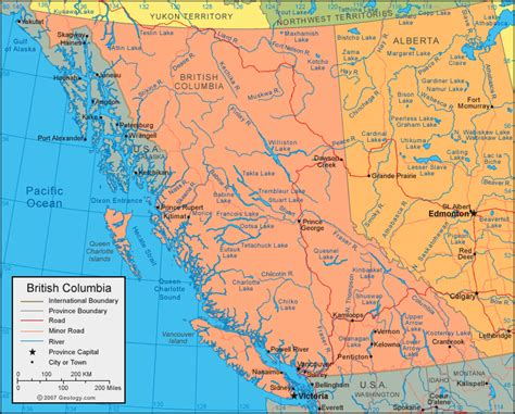 Bc Canada Map by British Columbia Map Size 21k British Columbia Map Index