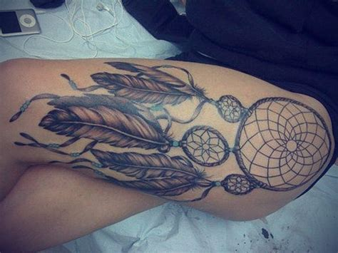 tattoo dreamcatcher thigh dreamcatcher tattoos for men