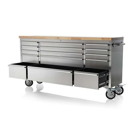 stainless benches 72 quot stainless steel 15 drawer tool bench htc7215w uncle