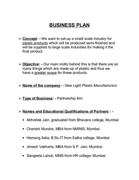 business plan introduction format plasticmanufacturing business plan introduction