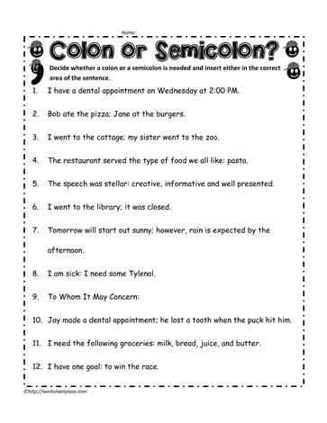 comma or semicolon commas and semicolons worksheet kidz activities